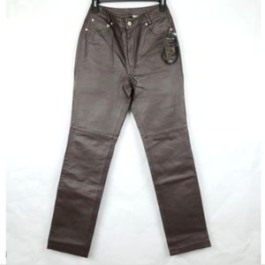 Newport News Jeanology Brown Leather Pants
